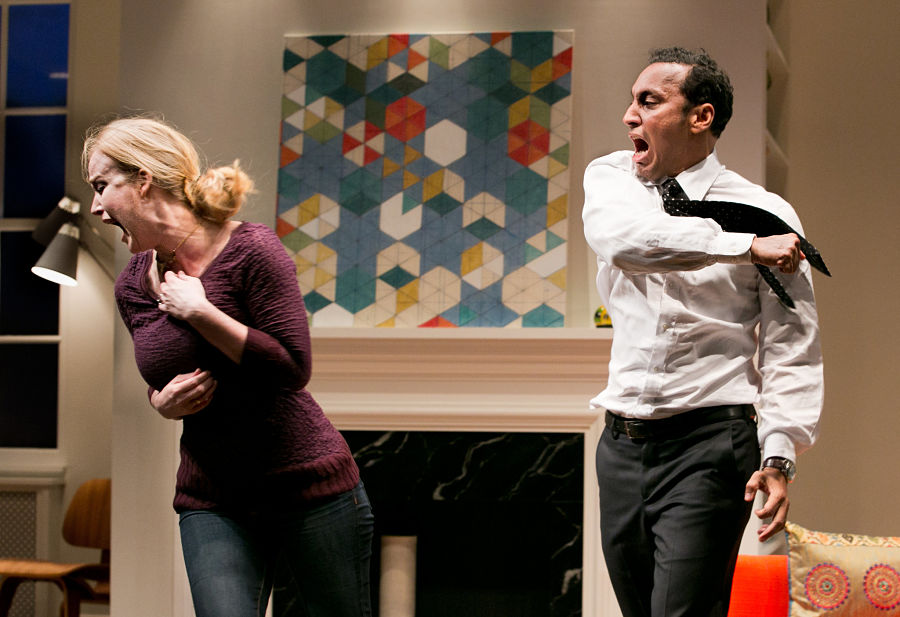 """Heidi Armbruster and Aasif Mandvi in """"Disgraced"""" at Lincoln Center in 2012. (Photo by Sara Krulwich for the New York Times)"""