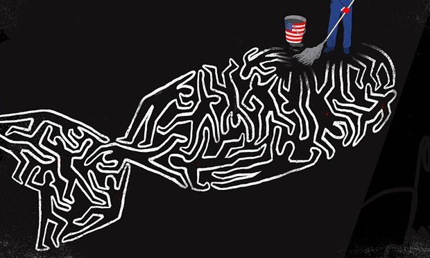 Everything the US and Britain touches 'now turns to dust, either pulverised directly by drones and bombers, or destroyed through blowback in the political vacuums' they create Illustration: Sebastien Thibault