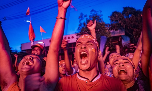 NLD supporters in Myanmar 'experience another ephemeral wave of euphoria'. Photograph: Zuma Wire/REX Shutterstock