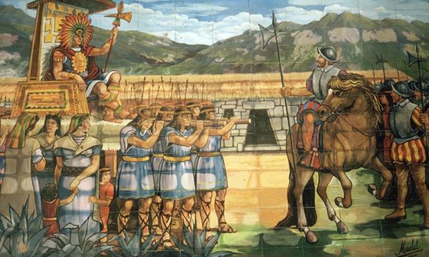 A mosaic in Cajamarca shows an encounter in 1532 between the conquistador Pizarro and the Inca Atahuallpa. Photograph: Mireille Vautier/Alamy