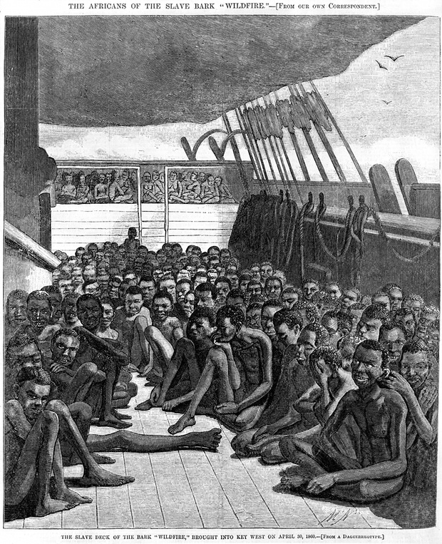A newspaper illustration of a slave ship transporting 510 captives from Africa to the Caribbean. The Caribbean nations are currently suing for reparations. Photograph: Alamy