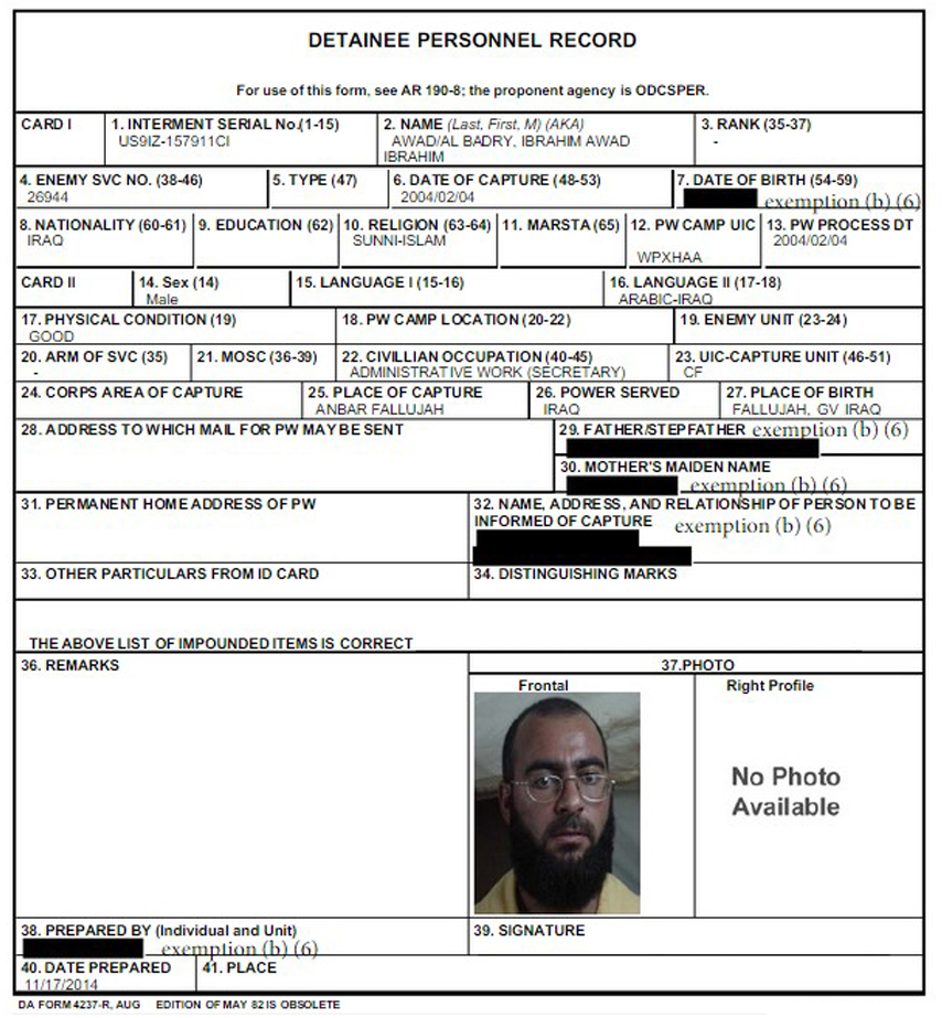 Baghdadi was arrested during a U.S. raid and sent to Camp Bucca in Iraq in 2004. Northern German Broadcasting