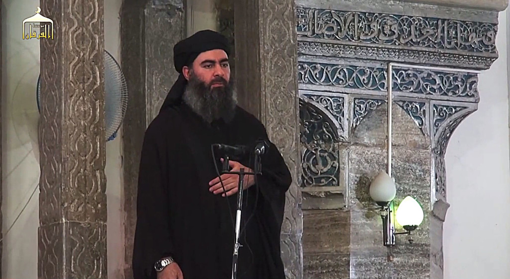 The leader of the militant Islamic State Baghdadi delivers a Friday sermon from the Great Mosque in Mosul, Iraq. AP