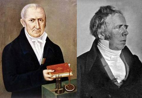 """Alessandro Volta (1745-1827) whose """"pile"""" was was the first battery to produce electrical current, and Hans Christian Ørsted (1777-1851), who showed current produces a magnetic effect."""