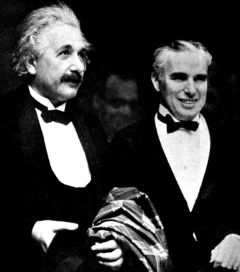 Einstein and Charlie Chaplin at the 1931 premier of City Lights