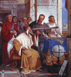 Galileo (second from right) showing the Doge of Venice how to use a telescope