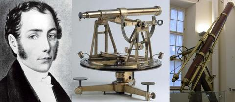 Joseph von Fraunhofer (1787-1826) together with his surveying theodolite and his Tartu refractor of 1824, the first modern telescope.