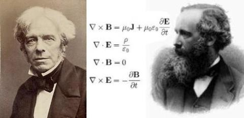 Michael Faraday (1791-1867), who showed a moving magnetic field produces an electrical current, and James Clerk Maxwell (1831-1879) whose famous equations (shown in modern form) provided a unified understanding of electromagnetic phenomena.