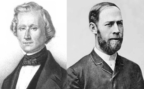 Urbain Le Verrier (1811-1877) who (with John Couch Adams) predicted the existence of Neptune using Newton's Laws, and who measured an unexplained discrepancy in Mercury's orbit, and Heinrich Hertz (1857-1894) who discovered radio waves and showed their velocity to be the same as that of light.