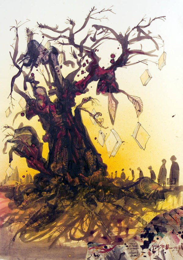 Illustration by Ralph Steadman for a rare edition of Ray Bradbury's Fahrenheit 451
