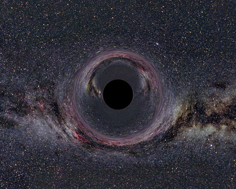What a view of the Milky Way would look like from Earth if a black hole was in the field of view