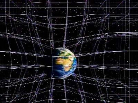 A massive object curving spacetime around it. If Earth was not present, the lines shown would all be perfectly straight.