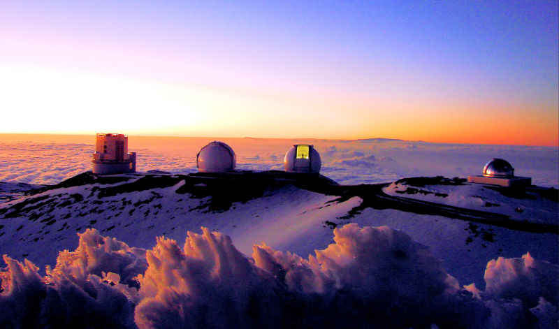 Four of the Mauna Kea, the Subaru Telescope, the Keck I and II telescopes, and the NASA Infrared Telescope Facility. Credit: Alan L.
