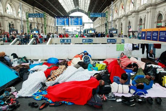 Syrian refugees at Budapest Keleti railway station, 4 September 2015 | Rebecca Harms | Creative Commons Attribution-Share Alike 2.0 Generic license. | Wikimedia Commons