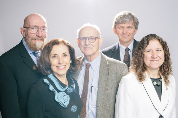 Important players in the LIGO project, from left to right: Kip Thorne of the California Institute of Technology, France A. Córdova of the National Science Foundation, Rainer Weiss of the Massachusetts Institute of Technology, David Reitze of Caltech and Gabriela González of Louisiana State University. Credit Lexey Swall for The New York Times