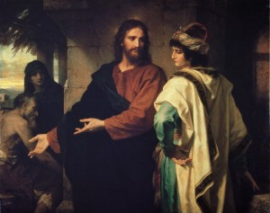 Jesus and the rich young ruler being told he would have to let go of his riches if he hoped to reach salvation