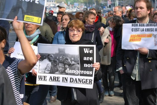 Image result for In Brussels, more than 1,200 people protest against Europe's unwillingness to do more about the refugee crisis in the Mediterranean, April 23rd, 2015. By Amnesty International.