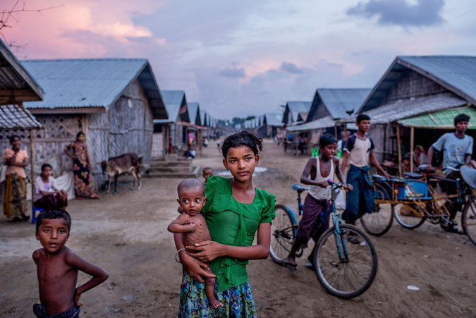 Undernourished Rohingya are a common sight at concentration camps in Sittwe, Myanmar. Credit Tomas Munita for The New York Times