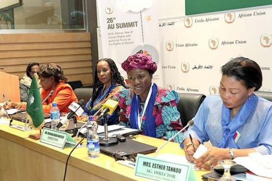 Mahawa Kaba Wheeler during a press conference in Addis Ababa. Photo: Courtesy of the African Union Commission