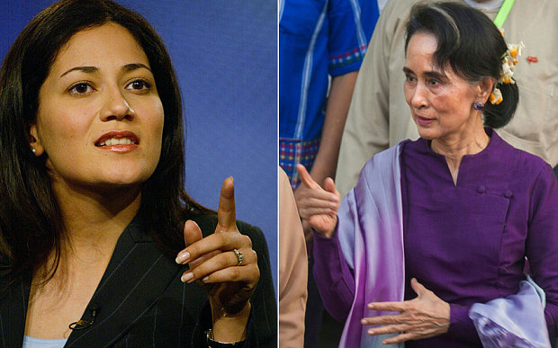 Mishal Husain, left, was interviewing Aung San Suu Kyi, right
