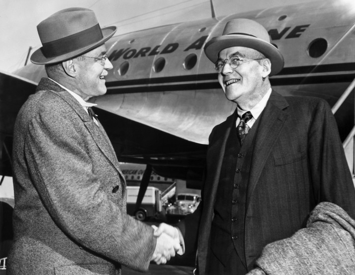 John Foster Dulles (right), Republican Party Foreign policy expert, is greeted by his brother, Allan Dulles, as he arrives in New York in October 1948 | AFP/AFP/Getty Images