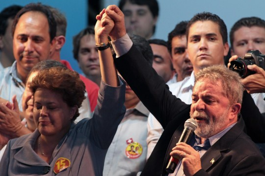 Lula and Dilma campaign together in the 2010 election. Photo: Eraldo Peres/AP