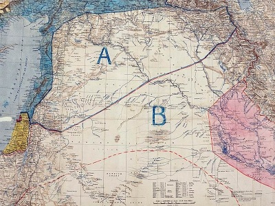 "A 1916 map of the Middle East showing French (""A"") and British (""B"") areas of control, according to the secret Sykes-Picot agreement."