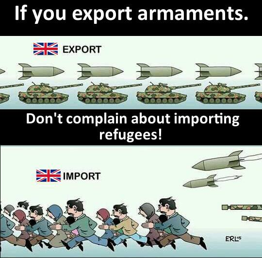 uk arms refugees mairead cartoon eu war weapons