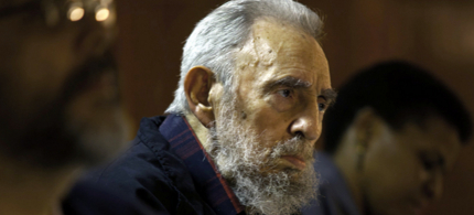 Fidel Castro attends a meeting with intellectuals and writers at the International Book Fair in Havana, Cuba. (photo: Roberto Chile/AP)