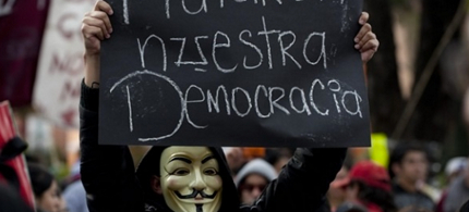 """""""They killed our democracy,"""" Mexico City, Aug. 31, 2012."""