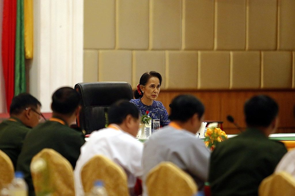 Ms Suu Kyi addressing the committee that monitors the National Ceasefire Accord on Wednesday. PHOTO: EUROPEAN PRESSPHOTO AGENCY