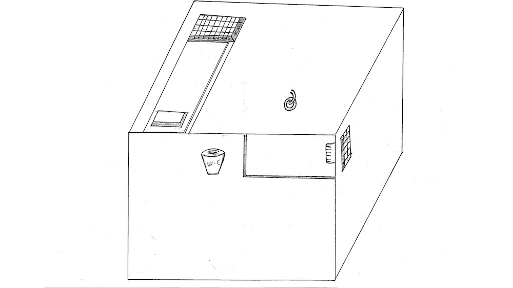 Mohamed Ahmed al-Shoreiya Ben Soud's drawing of the cell he lived in for a year in the Dark Prison [Courtesy of Mohamed Ahmed al-Shoreiya Ben Soud]