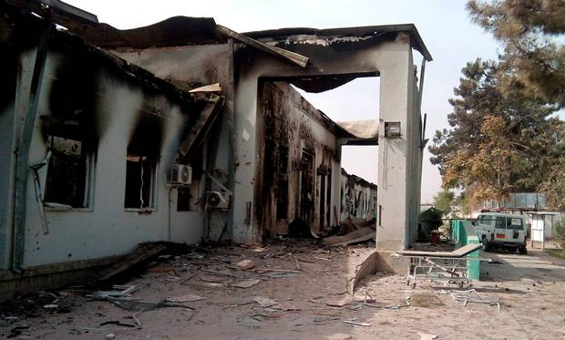 US strike on Afghanistan's Kunduz hospital in which the Medecins Sans Frontieres (MSF) medical charity operated is seen on October 13, 2015 following an air strike.