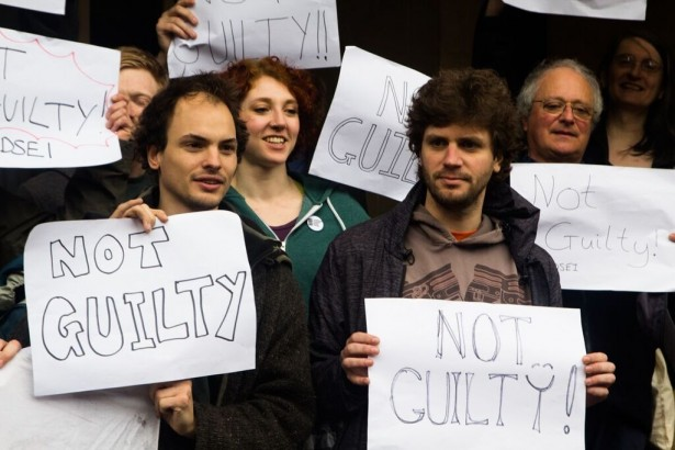 Javier Gárate (right) celebrating along with the other co-defendants after being found not guilty. (WNV/Andrew Dey)