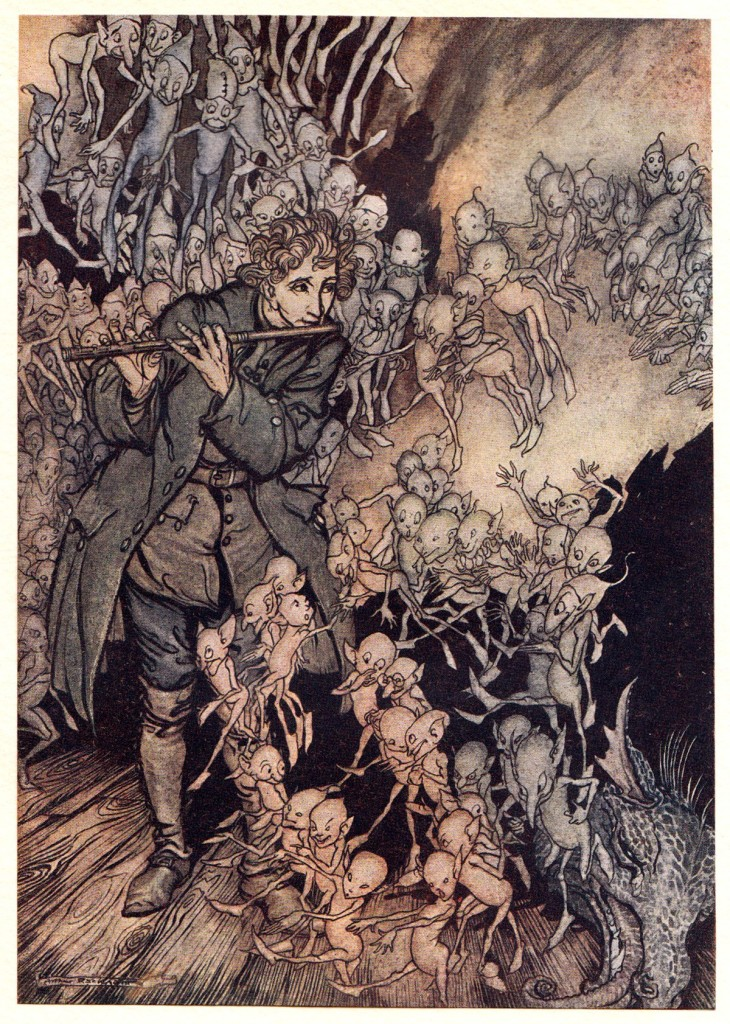 One of Arthur Rackham's rare 1917 illustrations for the fairy tales of the Brothers Grimm