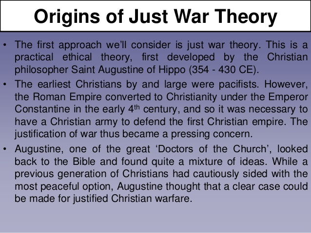 christianity and the just war theory essay War in afghanistan just war theory points out that there can be motives for going to war that do have a moral content, and just war theory claims that war can, under certain conditions, be morally justified.