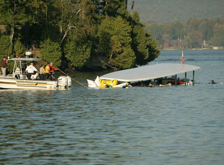 The Ethan Allen tour boat brought to the surface after sinking in Lake George, New York. Photo: AP Photo / Mary Altaffer