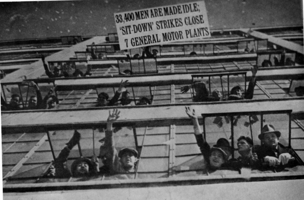 Sit down strikers in the 1930s
