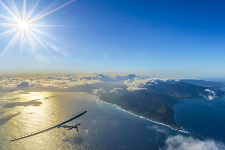 The solar airplane as it approaches the California. Photo credit: Solar Impulse