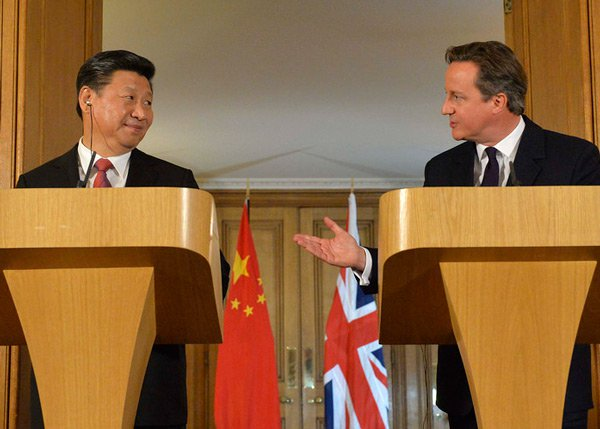 Chinese President Xi Jinping and British Prime Minister David Cameron. Photo: UK Government / Georgina Coupe