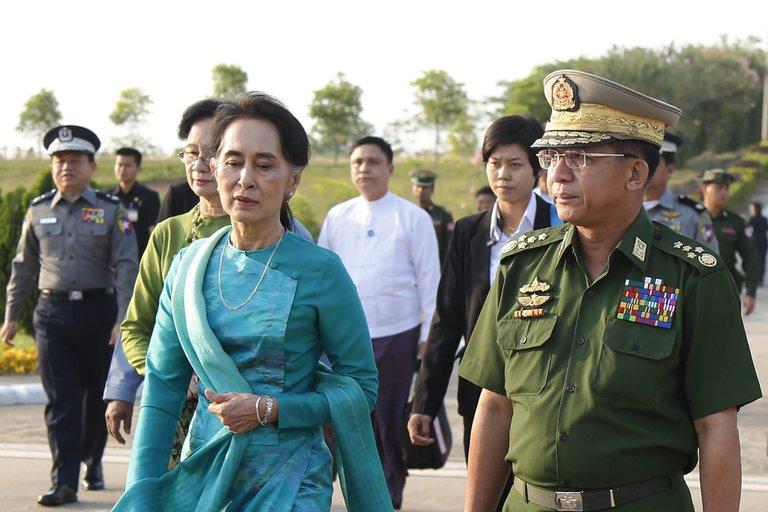 Daw Aung San Suu Kyi, left, in Myanmar last week. Credit Hein Htet/European Pressphoto Agency