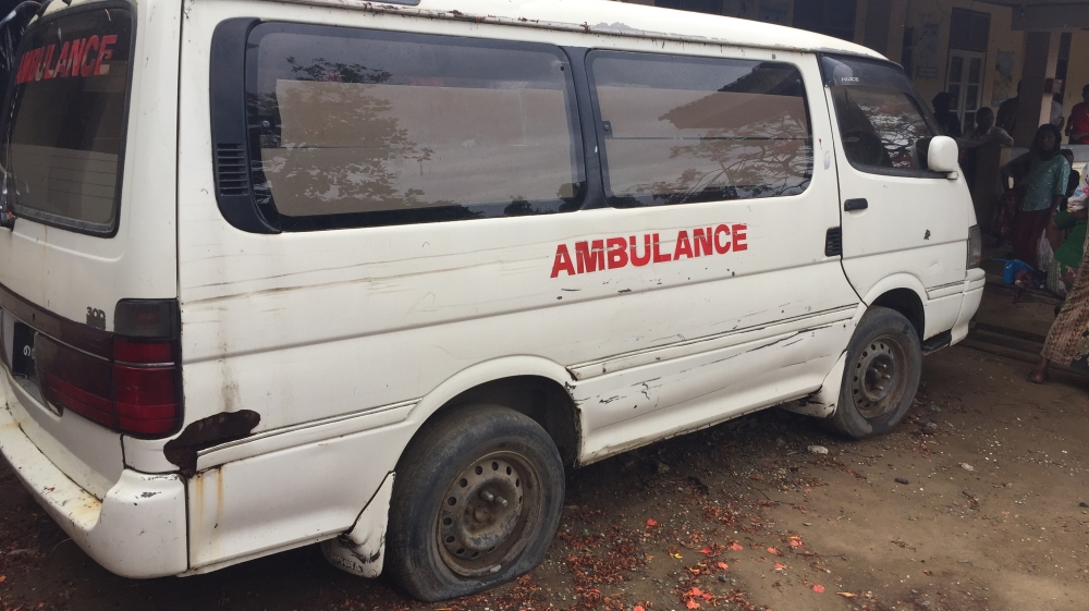 A broken ambulance - a sign of the poor medical facilities that are available to the people in the camps. Only the most serious cases are allowed to leave the camps to go to the main Sittwe Hospital in town. However, this ambulance is not going anywhere in a hurry. [Wayne Hay/Al Jazeera]