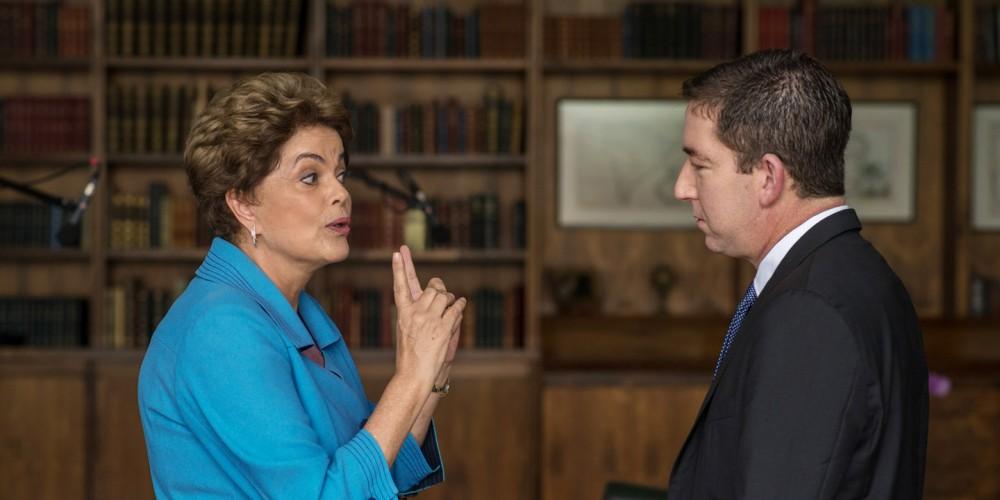 Brazilian President Dilma Rousseff and Glenn Greenwald on May 17, 2016. Photo: Erick Dau/The Intercept