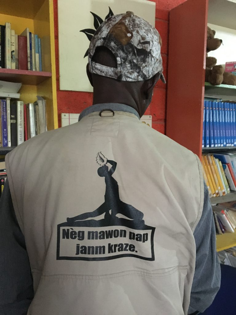 "Image of Haitian maroon revolutionary ""The spirit of the Haitian people will never break."""
