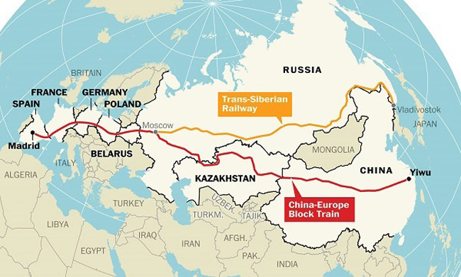 The modern Silk Road East-West, Yiwu/China to Madrid/Spain. Although the transit time for goods or people to transit the route is 21 days, this is 30 days faster than a ship and is 1/10 the cost of shipping freight. www.bulwarkreview.com