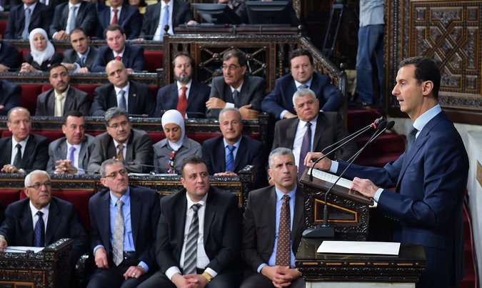 President Bashar al-Assad of Syria delivering a speech to the Parliament in Damascus last week. Credit Syrian Presidency, via Associated Press