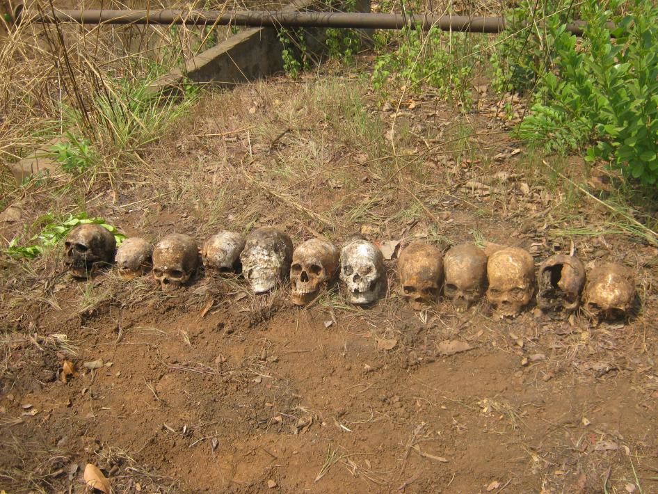 Twelve skulls discovered in a mass grave in February 2016 near a peacekeeping base in Boali, Central African Republic. The victims are believed to be individuals who were summarily executed by Republic of Congo peacekeepers on March 24, 2014. © 2016 Private