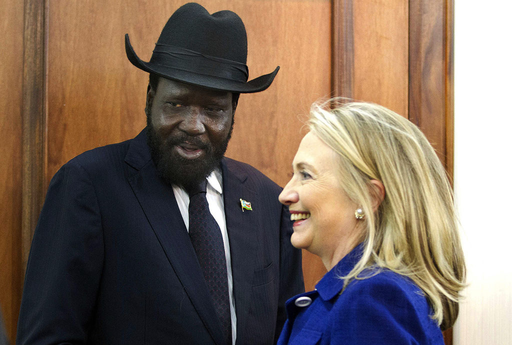Secretary of State Hillary Clinton meets with President Salva Kiir at the Presidential Office Building in Juba, South Sudan, Aug. 3, 2012. Photo: Jacquelyn Martin/Reuters/Newscom