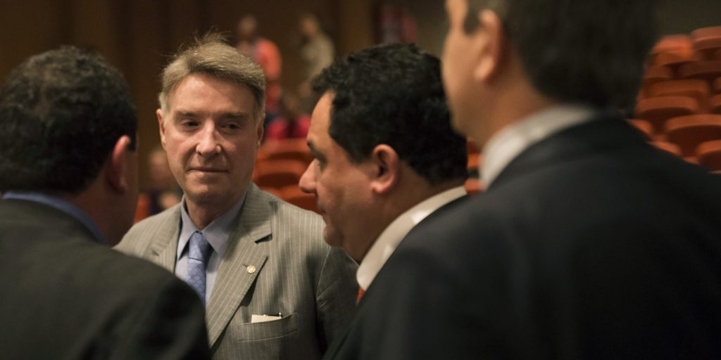 Former billionaire Eike Batista, a Brazilian tycoon once named No. 7 on Forbes's list of the world's richest people, talks with his lawyers during a hearing at a federal criminal court in Rio de Janeiro, Brazil, on Nov. 18, 2014. Batista went on trial in an insider trading case that could make him the first person in the country to go to prison on such charges.