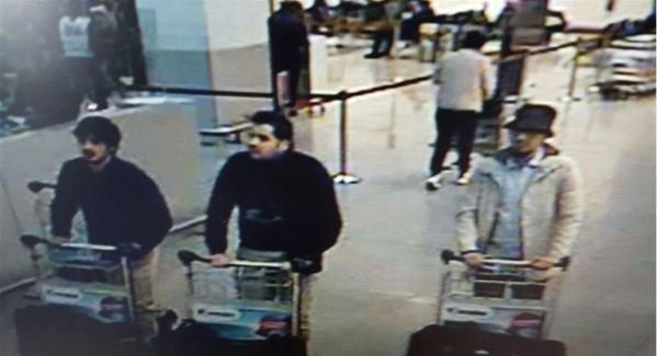 "His brother Najim (left) is pictured in this CCTV image from the Brussels airport just prior to the attack. When his athlete brother Mourad goes to the airport on his way to international matches, he says a ""strange feeling"" creeps over him."